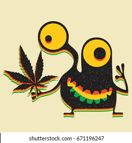 Cute monster with marijuana leaf on grunge yellow background.