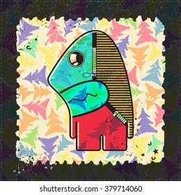 Cute Monster on grunge postage stamp. Cartoon illustration, vector.