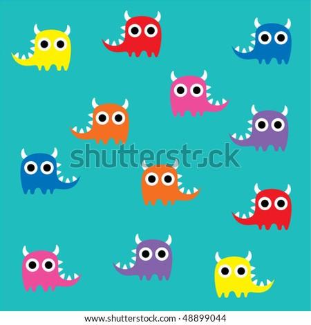 Cute Monster Wallpaper Image Vectorielle De Stock Libre De Droits