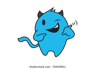 Cute Monster winking. Vector Illustration. Isolated on white background.