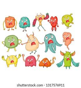 Cute Monsters. Cartoon aliens from space for kindergarten children