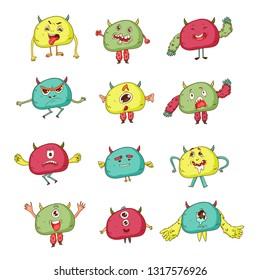 Cute Monsters. Cartoon aliens from space for kindergarten children.