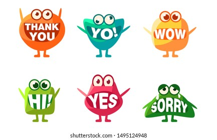 Cute Monsters Characters Set, Colorful Emojis with Words In Their Mouths, Thank You, Yo, Wow, Hi, Yes, Sorry Vector Illustration