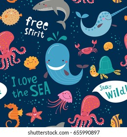 Cute monsters of the deep. Vector illustration of sea animals. Cartoon seamless pattern on a dark background. It can be used for backgrounds, surface textures, wallpapers, pattern fills.