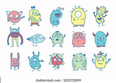 Cute monsters doodles