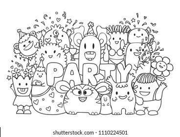 Cute monsters and friends in the party for printed tee, wall sticker and coloring book page for kids. Vector illustration