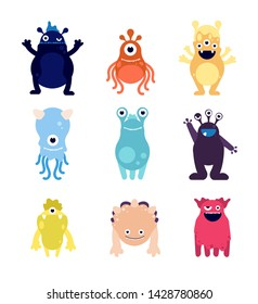 Cute monsters. Funny monster aliens mascots. Crazy hungry halloween toys isolated cartoon vector characters. Illustration of mascot alien, funny monster mutant