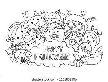 Cute monsters in Halloween party with the lettering Happy Halloween. Vector illustration