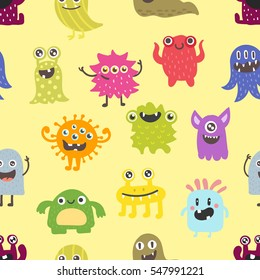 Cute monsters seamless pattern vector.
