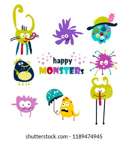 cute monsters. Set. illustration vector