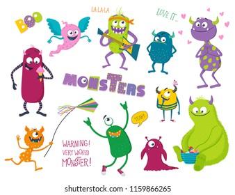 Cute monsters set. Vector illustration for kids