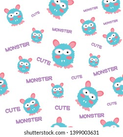 Cute Monsters vector illustration seamless pattern, background