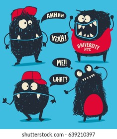 cute monsters vector set for t shirt design