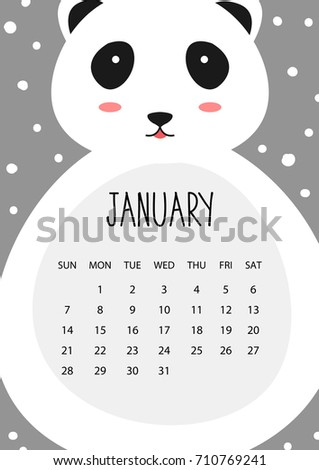 Cute Month Calendar Design 2018 Year Stock Vektorgrafik Lizenzfrei