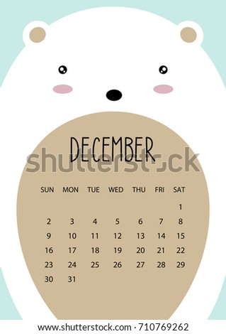 cute month calendar design for 2018 year bear december a4 format vector