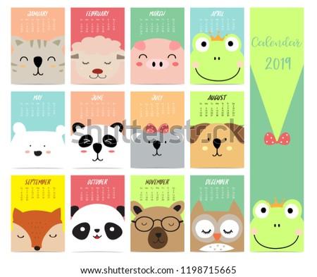 Cute Monthly Calendar 2019 Catsheeppigfoxbearpandaowl Children Stock