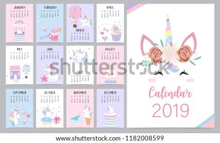 Cute Monthly Calendar 2019 Head