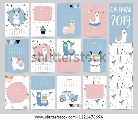 Cute Monthly Calendar 2019 Llamaluggagecactusgeometrical Children