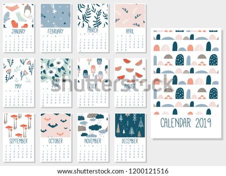 Cute Monthly Calendar 2019 Printable Templates Stock Vector Royalty