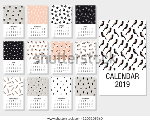 image relating to Cute Monthly Calendar Printable identified as Lovable Month to month Calendar 2019 Printable Templates Inventory Vector