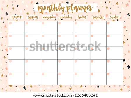 Cute Monthly Planner 2019 Year On Stock Vector Royalty Free