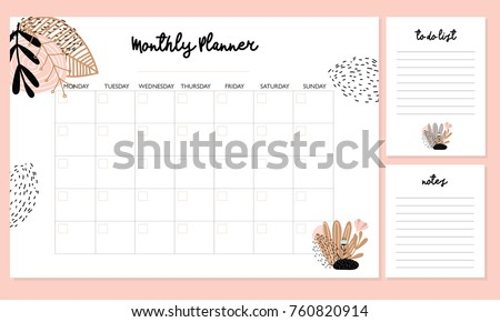 cute monthly planner flowers do list stock vector royalty free