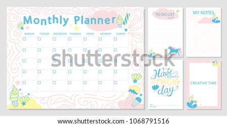 Cute Monthly Planner Template And Diary Paper NotesPlanner With Funny Unicorn Ice Cream