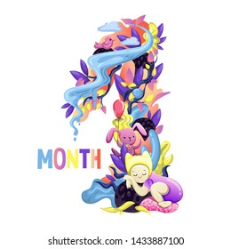 Cute months sticker with animals for baby. Baby Shower party, month sticker. Number 1. Happy birth. Vector EPS10