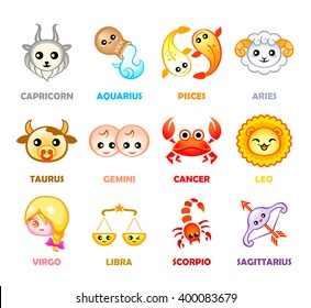 Cute months zodiac symbols in Japanese style