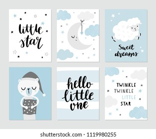 Cute moon, sheep, sleeping bear in pyjama, nursery rhymes. Hand lettering - Little star, sweet dreams, hello little one. Baby shower invitation, greeting card, nursery poster.