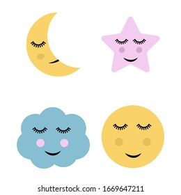 Cute Moon, Star and Cloud Illustration.