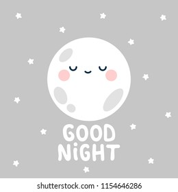 Cute moon and stars with good night. White handmade phrase on the night background. vector handdrawn lettering banner design.