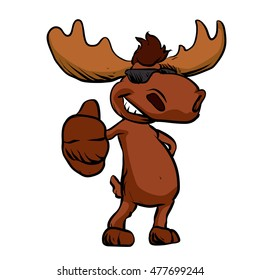 Cute moose cartoon waving.happy cartoon moose