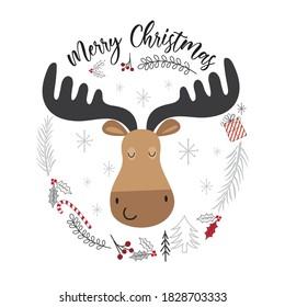 Cute moose face on wreath, vector illustration