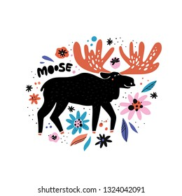 Cute moose flat hand drawn illustration. Black deer, reindeer with red antlers. Woodland animal character with lettering. Forest fauna. Zoo mammal. Elk clipart. Postcard, kid's book design element
