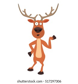 Cute moose, funny cartoon reindeer character showing with hand. Ideal character for your christmas card design.