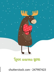 Cute moose standing on snow hugging red heart under falling snowflakes. Love warms you. Vector illustration