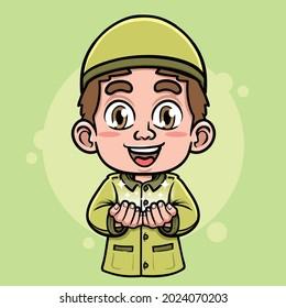 cute moslem boy doing praying illustration