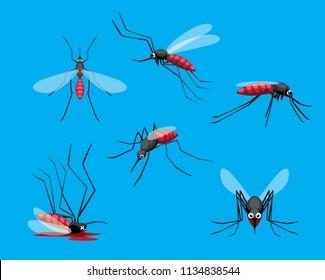Cute Mosquito Various Poses Dead Cartoon Vector Illustration