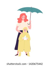 Cute mother and daughter dressed in raincoat standing under umbrella. Mom and child walking outdoors on rainy day. Happy family, parenthood and maternity. Flat cartoon colorful vector illustration.