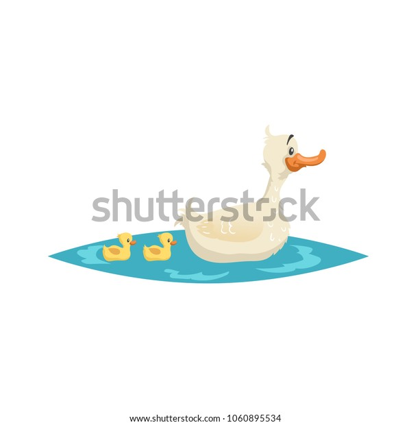 Cute mother duck swim with ducklings on little lake. Farm animals. Cartoon style vector illustration for child education.