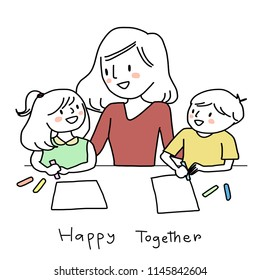 Cute mother embracing her daughter and son and guiding them to drawing picture on blank paper sheets. Little boy and girl holding crayon color for drawing and painting in art class with their teacher.