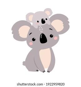 Cute Mother Koala and her Little Baby, Beautiful Australian Animals Cartoon Character Vector Illustration