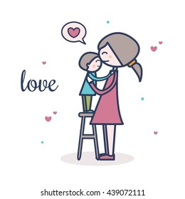 Cute mother and son vector illustration with hearts. Postcard design. Love.