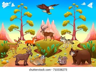 Cute mountain animals in the nature. Vector cartoon illustration