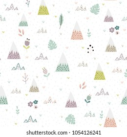 Cute mountains, plants and flower landscape seamless pattern. Cartoon background for kids. Vector illustration