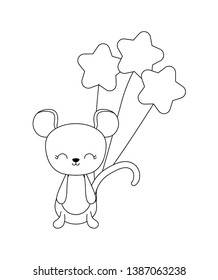 cute mouse animal with balloons helium