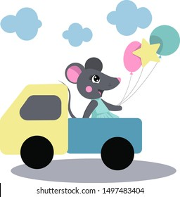 Cute mouse with baloons in the little truck