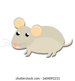 cute mouse cartoon flat on white background