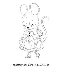 Cute mouse. Cartoon vector line caracter illustration